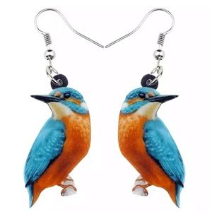Kingfisher Bird Acrylic Earrings